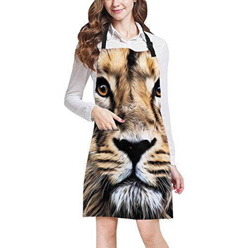 InterestPrint Abstract Animal Art Decor, Young Asian Lion Face Chef Aprons Professional Kitchen Chef Bib Apron with Pockets Adjustable Neck Strap, Plus Size by InterestPrint