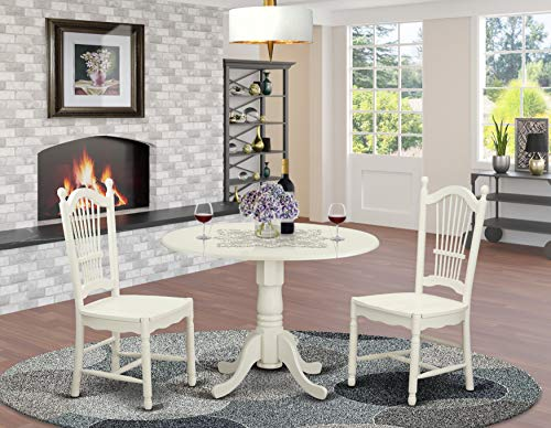 DLDO3-WHI-W 3 PcKitchen dinette set for 2-Dinette Table and 2 Dining Chairs