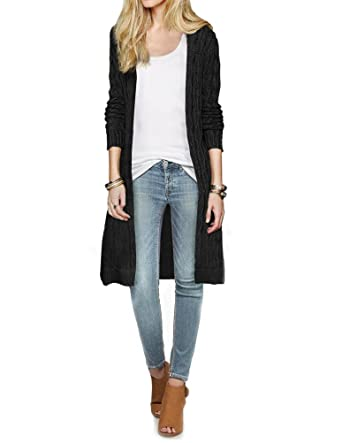 Cali Holi Womens Cable Knit Open Front Long Knee Length Cardigan