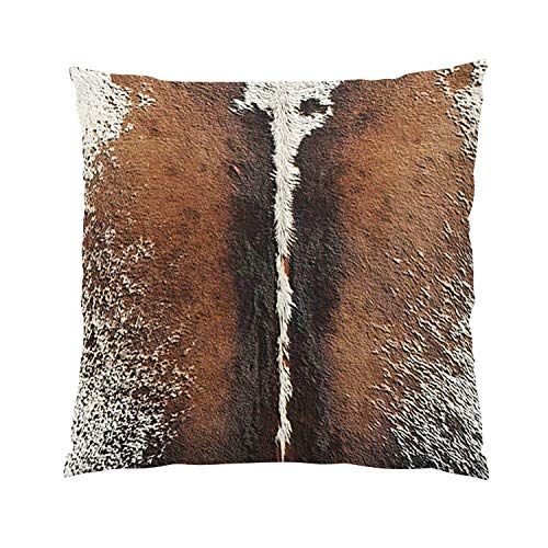 (Suklly 05 Faux Leather Cowhide Brindle Brown Pelt Romantic Hidden Zipper Home Sofa Decorative Throw Pillow Cover Cushion Case 18x18 Inch Square Two Sides Design Printed Pillowcase)