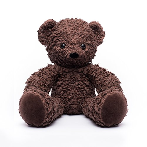 16 Inch Brown Teddy Bear (Bears for Humanity Organic Sherpa Bear Plush Animal Toy, Dark Brown, 16