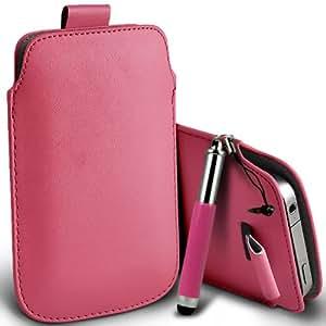 Nokia Lumia 900 premium protección PU ficha de extracción Slip Cord En la cubierta de la caja del filtro del bolsillo de la Piel y Mini capacitiva lápiz óptico retráctil Baby Pink por Spyrox