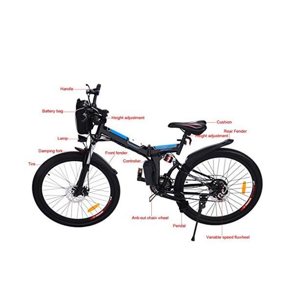 AMDirect Bicicletta da Montagna Elettrica Pieghevole con Ruote di 26 Pollici Batteria Litio di Grande Capacità 36V 250W… 4 spesavip