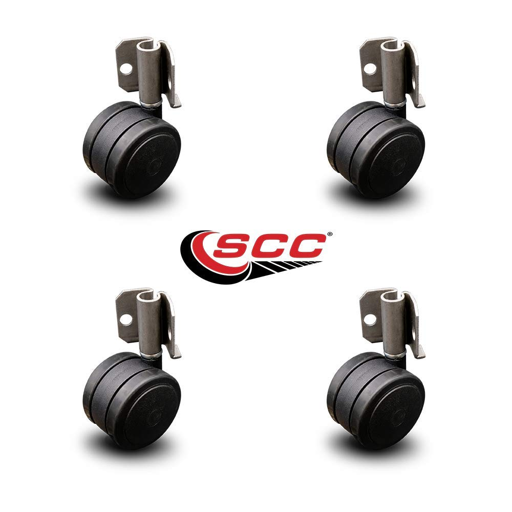 Inside Corner Mounting Casters - 2'' Black Twin Wheels - Hardwood Safe Non Marking - Set of 4 - Service Caster by Service Caster