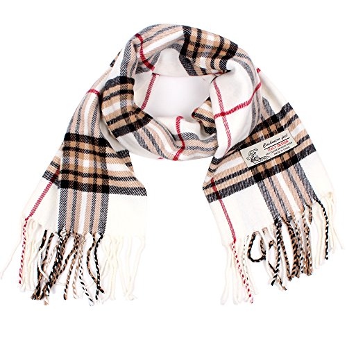 Mens Cashmere Plaid Scarf - Plaid Cashmere Feel Classic Soft Luxurious Winter Scarf For Men Women (White)