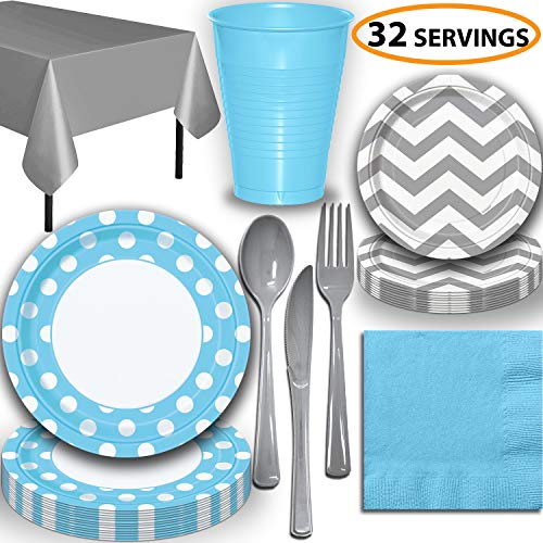 Disposable Tableware, 32 Sets - Powder Blue and Silver - Dotted Dinner Plates, Chevron Dessert Plates, Cups, Lunch Napkins, Cutlery, and Tablecloths: Premium Quality Party Supplies Set -