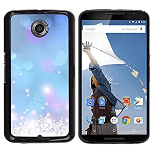 iKiki Tech / Estuche rígido - Winter Snow Snowflake Blue Xmas - Motorola NEXUS 6 / X / Moto X Pro