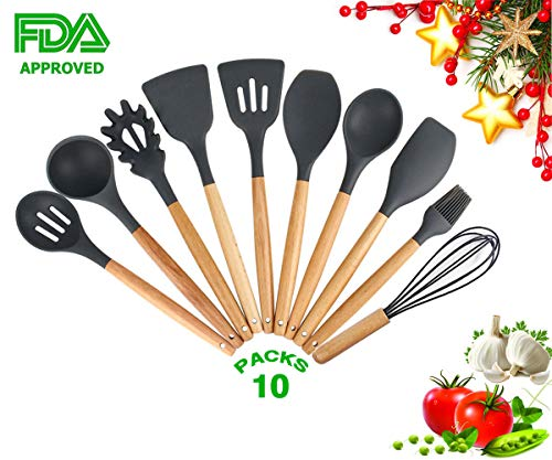 Kitchen Utensil Set Silicone Cooking Utensils,10 Pieces Wooden Handle Cooking Tools Turner Spoon Spatula Whisk for Nonstick Cookware,BPA Free- Best Chef Kitchen Gadgets Gifts(Gray)