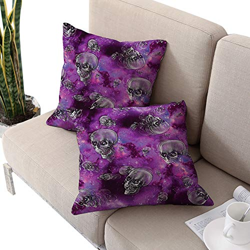 Skull Square Funny Pillowcase,Horror Movie Thirller Themed Flying Skull Heads Halloween in Outer Space Image Black and Purple W20 xL20 2pcs Cushion Cases Pillowcases for Sofa Bedroom -