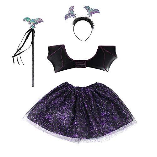 Butterfly Craze Tinkerbell Costume for Todder Little Girls Pixie Butterfly Fairy Wing Skirt (4-6, Purple) ()