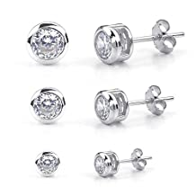 Konov Jewelry Womens Cubic Zirconia 3 Pairs(6 pcs) 925 Sterling Silver 2-4mm Round Stud Earrings Set, Silver, with Gift Bag, C25211