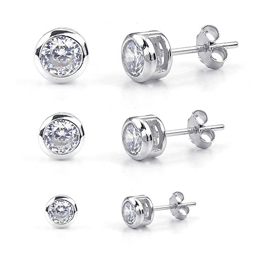 KONOV Cubic Zirconia 3 Pairs(6 pcs) 925 Sterling Silver Womens 2-4mm Round Stud Earrings Set, Silver (2 Pcs 925 Silver Earrings)