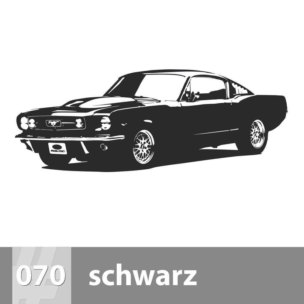 Premiumsticker24 Wandtattoo Ford Mustang | Schlafzimmer Wohnzimmer Kinderzimmer Aufkleber selbstklebend Wand, 239cm x 90cm, 070 schwarz