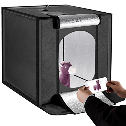 Neewer Portable Foldable Table Top Photo Studio Shooting Built-in 60x2 LED 5000K Cubic Diffusion Softbox-23.6x23.6 inches/60x60 centimeters for Handheld Photography with Camera or Smartphone(US Plug)