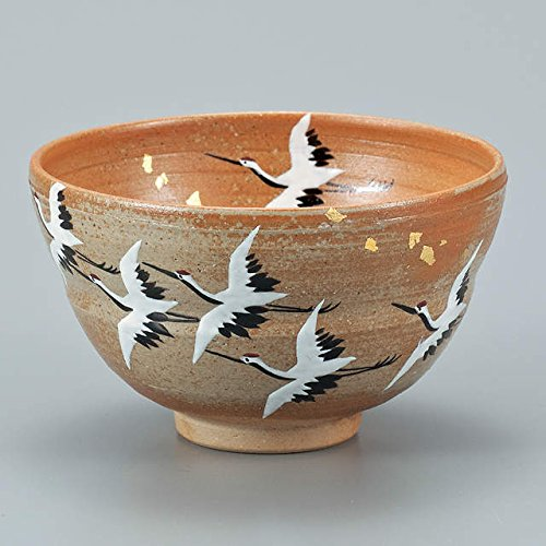 Japanese drawn Ceramic Porcelain kutani ware. Japanese matcha tea bowl chawan with (Crane Bowl)