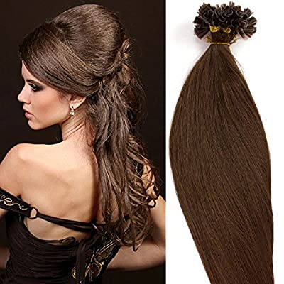 """100 Strands 18 20 22"""" Pre Bonded Keratin Nail U Tip Remy Human Hair Extensions Silky Straight (0.5g/s) 50g"""