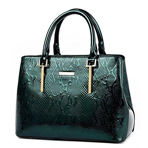 SANSJI Bolsa retro Bolso de mano bolso de hombro en elegante charol de mujer Verde