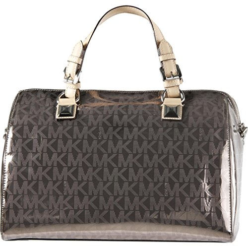 Metallic Satchel Handbag - MICHAEL Michael Kors Womens Grayson Convertible Satchel Handbag Metallic Large