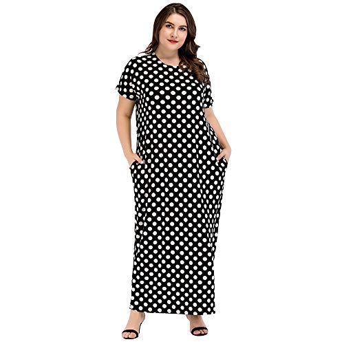 (Women Short Sleeve Loose Polka Dot Maxi Pockets Dresses Oversized Muslim Dresses for Women Dress with Pocket Plus Size Maxi Dress Plus Size Women Dresses Abayas for Women Size XL)