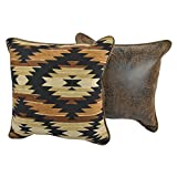 L&M Set of 2-18x18 Tan Brown Southwest Pillow Set Decorative, Black Beige Rustic Southwestern Cushions Sofa Aztec Square Shaped Tribal Native American Western, Polyester