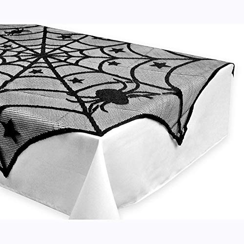HGWXX7 Halloween Spider Round Web Tablecloth Topper Covers Fireplace Table Party Decor Tablecloth