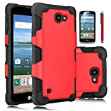 LG K4 Case, LG Spree Case, LG Optimus Zone 3 Case, EC™ Dual Layer Rugged Soft TPU Bumper Hard PC Shell Shockproof Case Cover for LG K4 LTE / LG Spree (G Series-Red/Black)