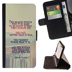BullDog Case - FOR/Apple Iphone 6 PLUS 5.5 / - / MARCEL PAGNOL - DEEP MESSAGE /- Monedero de cuero de la PU Llevar cubierta de la caja con el ID Credit Card Slots Flip funda de cuer