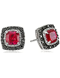 Sterling Silver and Cushion Created Ruby Diamond with Black and White Diamond Accents Earrings