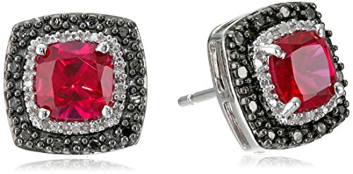 Diamond & Ruby Earrings (Sterling Silver Created Ruby Cushion with Black and White Diamond Accent Stud Earrings)