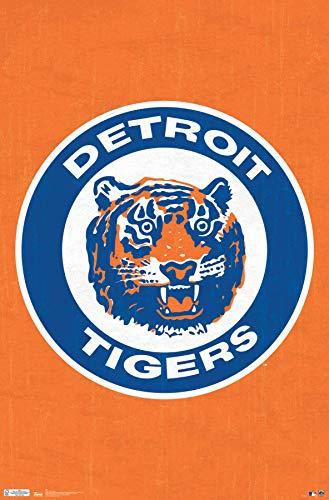 (Trends International Detroit Tigers-Retro Logo Mount Bundle Wall Poster 22.375