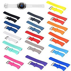 ECSEM Large Silicone Replacement Wristbands for Samsung Gear S2 SM R720 SM R730 Smartwatch Gear S2 Band/Strap