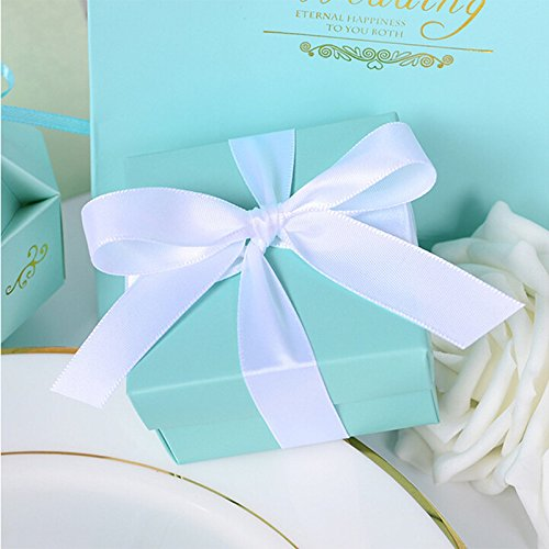 Nearby Party Supplies - Saasiiyo 10pcs Romantic wedding favor Tiffany Blue paper candy box +Ribbon DIY Candy Cookie Gift Boxes Wedding Party Candy Box supplies