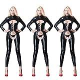 Yiwa Women Clubwear Sexy Leather Full Bodysuit Zipper Open Crotch Stretch Lingerie Black XXL