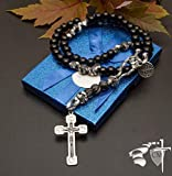 Black Armour of God Paracord Rosary - Natural Stone Our Father beads