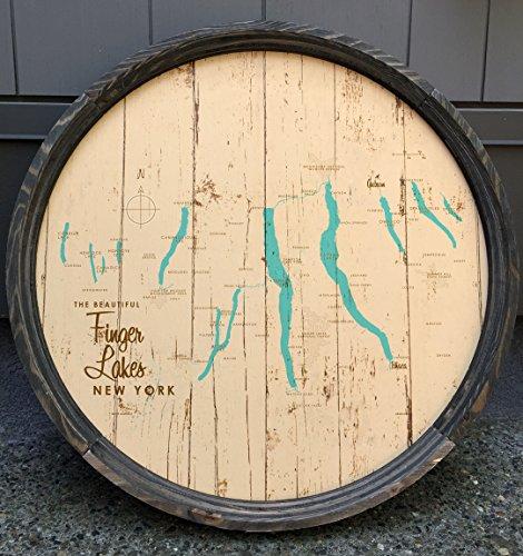 Finger Lakes Map Barrel End Sign by LakeboundShop