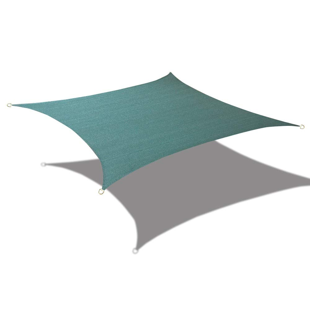 Alion Home HDPE UV Block Sun Shade Sail Permeable Canopy - Square and Rectangle - Custom 185GSM (8' x 16', Dark Green)