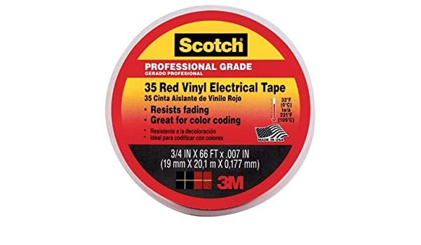 3M Scotch 35 Vinyl Electrical Color Coding Tape 3/4 x 66ft Red 10810 Business & Industrial