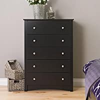 Dresser / Dressers and Chests, Contemporary Black 5-Drawer Chest B-3345-BROA in Black Finish, Assembly Required