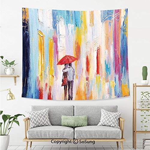 Home Decor Wall Tapestry,Silhouette of a Love Couple in Street Rainy Day Romance in Urban City Life Design,Bedroom Living Room Dorm Wall Hanging,92X70 Inches,Multi