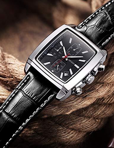 MEGIR Montre Rectangulaire Homme Étanche Classique Quartz Chronographe avec Bracelet en Cuir Fashion Cadeau
