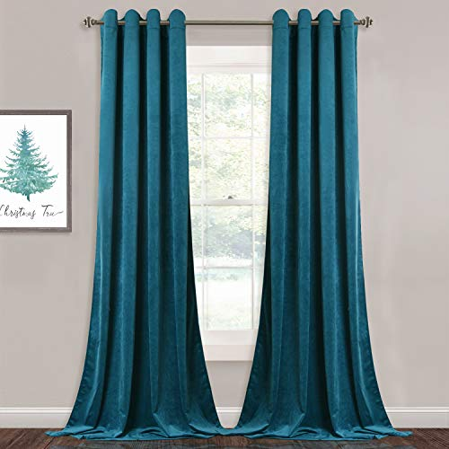 (StangH Velvet Curtain Drapes 96-inch - Living Room Blackout Curtains Heavy Duty Grommet Top Drapery Panels for Bedroom/Guest Room, Teal Blue, 52