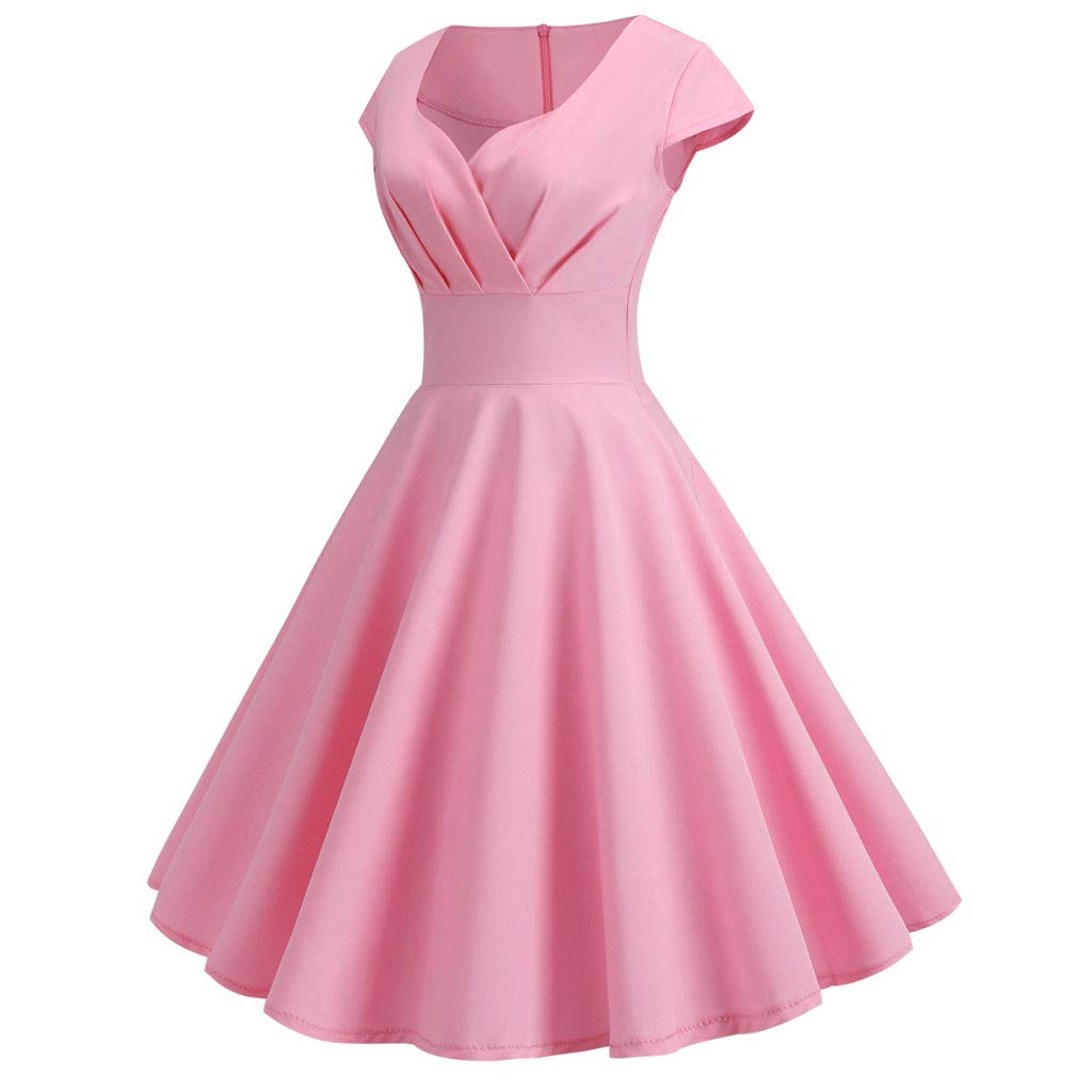 Womens Dresses Party Dresses 1950s Vintage Rockabilly Prom Dresses Swing Stretchy Dresses Pink