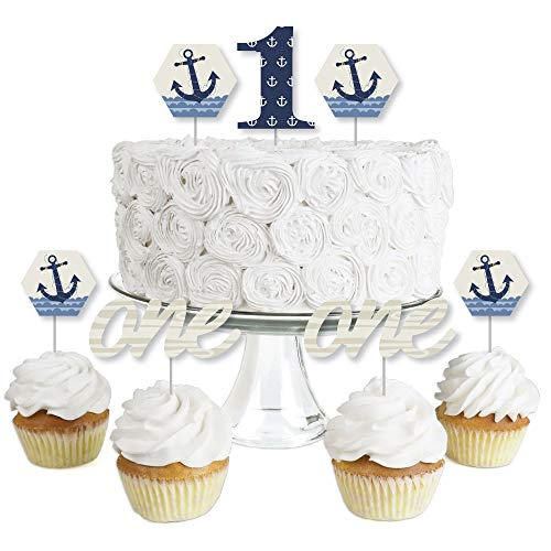 1st Birthday Ahoy - Nautical - Dessert Cupcake Toppers - First Birthday Party Clear Treat Picks - Set of 24