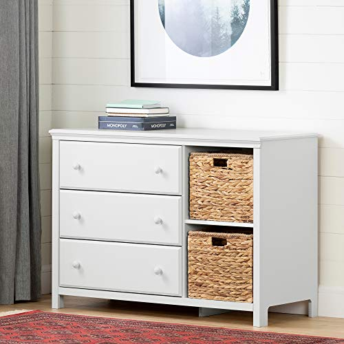 South Shore 12140 Cotton Candy 3-Drawer Dresser with Baskets, Pure White (Drawers Small Dresser 3)