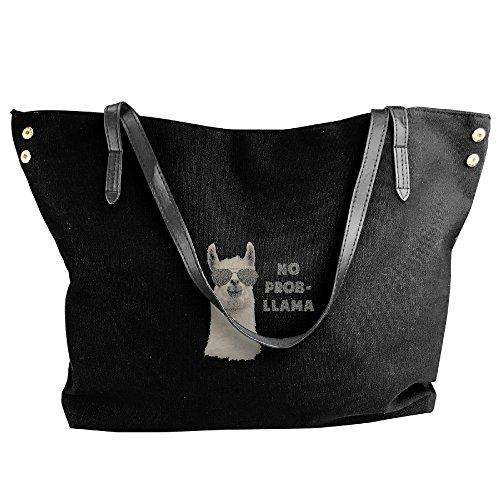 Capacity Bags Problem Canvas Large Black Handbags Handbags Llama Bags Fashion Shoulder Hobo No Black Tote Women F7wpnxYY