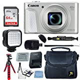 Canon PowerShot SX730 HS 20.3MP Digital Camera (Silver) + 64GB Memory Card + Camera Case + Flexible Tripod + LED Video Light + USB Card Reader + Lens Cleaning Pen + Cleaning Kit + Accessories Bundle