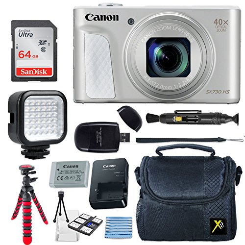 Canon PowerShot SX730 HS 20.3MP Digital Camera (Silver) + 64GB Memory Card + Camera Case + Flexible Tripod + LED Video Light + USB Card Reader + Lens Cleaning Pen + Cleaning Kit + Accessories Bundle by Eternal Photo