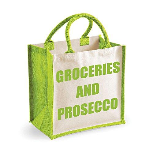 Medium Jute Bag Lebensmittel und Prosecco grün Tasche Mütter Tag Neue Mama Geburtstag Weihnachtsgeschenk