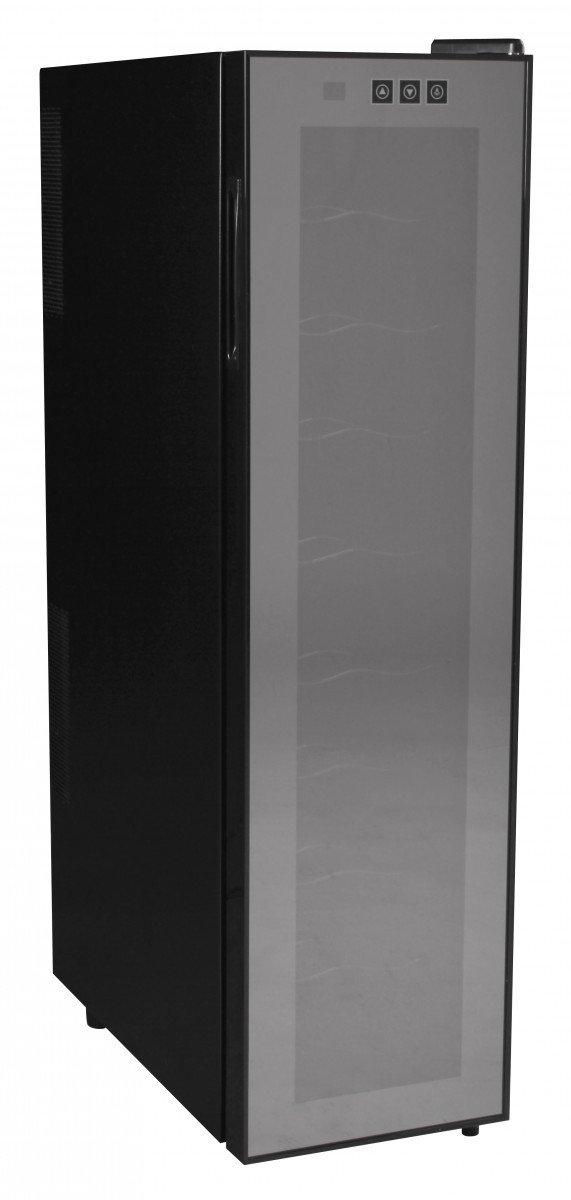 Amstyle Weinkühlschrank Slimline 1 Temperaturzone Klima-Zone Schwarz 53 Liter 18 Flachen Getränkekühlschrank 12-18°C Weinkühler Weinklimaschrank Glastür Freistehend Rot & Weißwein Höhe 95cm (EEK: A)