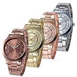 Doinshop Women Fashion Analog Quartz Waterproof Stainless Steel Band Watches wholesale Pack 4